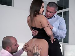 Depraved MMF 3some makes slutty bitch Lana Roy for all pleased