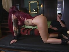 Tattooed submissive Tana Lea is face fucked before hardcore pussy long