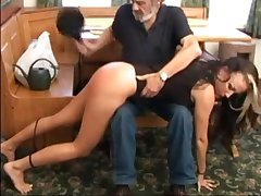 Her father spanks her bootie
