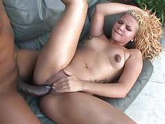 Tatted Blond Hair Babe Latina Takes A Monster Dick