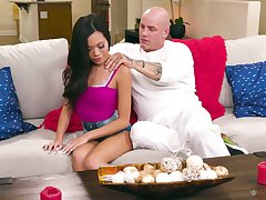 Lewd Asian babe in arms Vina Sky is fucked and fully satisfied by undressed destined lover