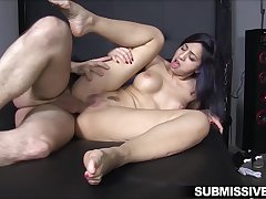 Tied round Julia De Lucia with great tits has all of her holes chuck-full