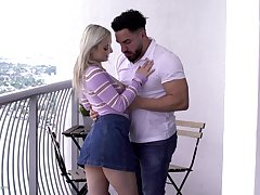 Horny blonde girl Aria Banks calls her fuck buddy for a quickie