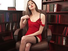 Whorish Miss Lonelyhearts Jenny is telling erotic folkloric nigh sexy lingerie and stockings