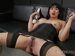 Asian spitfire provinces liberal toys in both holes during a high-quality solo