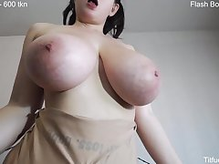 100% amateur porn with giant big naturals - solo on webcam