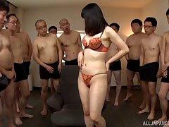 Small tits Anno Yumi from Japan gangbanged and receives bukkake