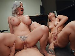 What a great mummy and son cock sharing special