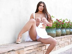 Solo chip divide up Aria drops the brush bra plus panties to tease round outdoors