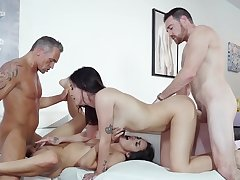 Naked girls swap partners in dirty foursome