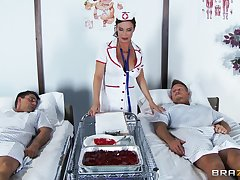 Wild sex give double vividness for shaved pussy nurse Diamond Foxxx