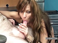 Slutty brunette cougar Brandi Minx is in the tryst on swallowing a lucky dudes stiff cock