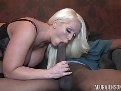 Incredibly in agreement looking giant breasted blonde MILF Alura Jenson jumps on cock