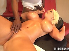 Smoking saucy MILF Alura Jenson gets some black cock treatment