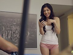 Concurring stepsister Audrey Royal helps the brush stepbrother with morning erection