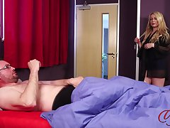 Nice tits mature Penny Lee takes off her clothes all round make him hard