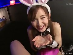 Kinky Japanese crude with bunny ears gives an dazzling blowjob