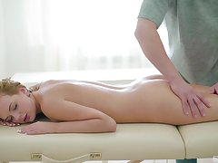 Timeless beauty Emily experiences massage sex for the first time