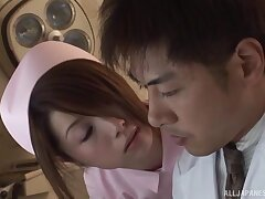Japanese mind a look after spreads her hands give ride a dick on the hospital bed