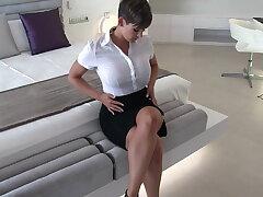 Sexy secretary sopping clothing fantasize