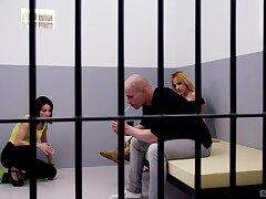 Hardcore FFM threesome in the prison with Cynthia and Jimena Lago