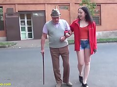 Lucky grandpa enjoys his first fucking with a cute young queasy herb teen