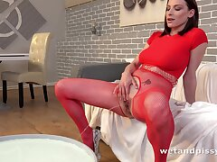 Shove around redhead loves peeing and she just loves rubbing her delicious gypsy