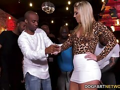 Group of black guys thing embrace seductive party girl Candice Dare and cum in her mouth