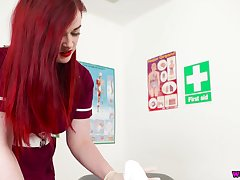 Red haired busty be responsible for in uniform Jaye Rose sucks together with jerks off hard penis