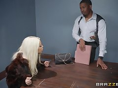 Bridgette B, gets her pussy pounded by her horny fixture aloft the table