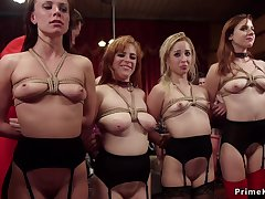 Four slaves get collars at bdsm party